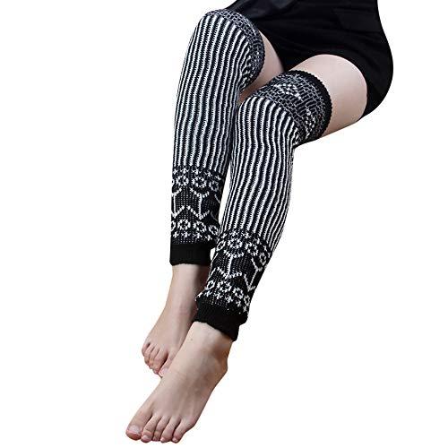- Elaco Comfortable Stretchy Soft and Classic Design Women Winter Soft Boot Long Socks Knit Crochet Leg Warmers Design Hairband (Black)