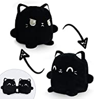 TeeTurtle | Plushmates | Cat | Black | Happy + Angry | The Reversible Plush That Hold Hands!