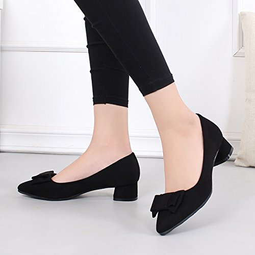 Working 3Cm Shoes Shoes Butterflies Exposed Middle Rough Heels Heels Women'S Autumn Toes Low Pointed Single Shoes KPHY Black BqHwxn6Aq