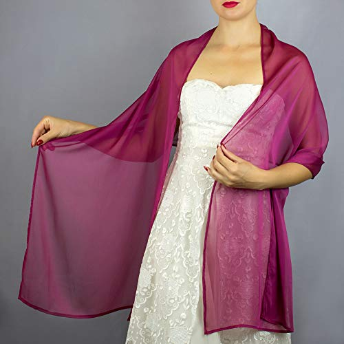(Chiffon raspberry pink stole wrap shawl evening dress accessory)