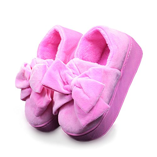 CWAIXXZZ pantofole morbide Pantofole di cotone spessa femmina caldo inverno carino il filtro Bow Tie scarpe con i tacchi alti morbidi home pacchetto con outdoor scarpe di cotone ,39-40 dimensione norm