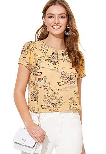 Milumia Women's Summer Animal Print Pleated Work Keyhole Blouse Top