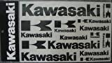 Kawasaki Logo Decal Sticker Sheet Black 14 Decals in All