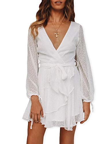(AOOKSMERY Women Summmer Cute Polka Dot Mesh Long Lantern Sleeve V Neck Ruffle Hem Mini Dress with Belt White)
