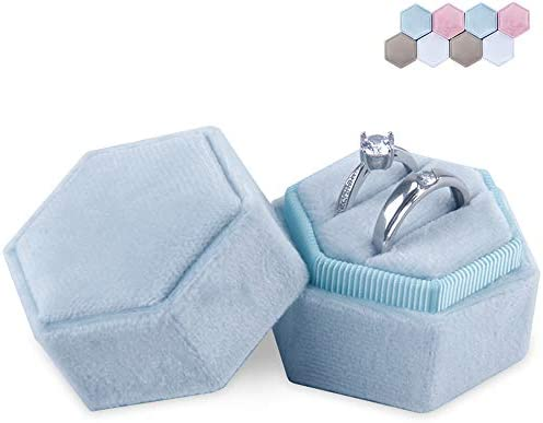 Sechseck Ehering Box/Samt Ring Bearer Box/Schmuck Ohrring Geschenkbox für Hochzeit Verlobungsring Valentinstag