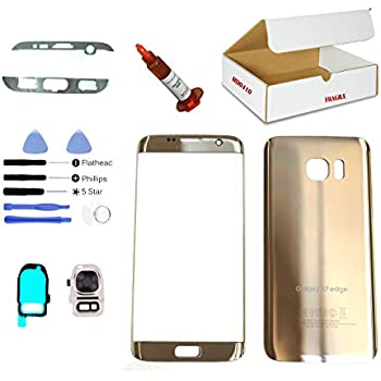 (md0410) Gold front outer glass lens + back cover + camera lens flash cover replacement Compatible Galaxy S7 G930 + adhesive + opening tool + (LCD screen & touch digitizer not included) 50%OFF