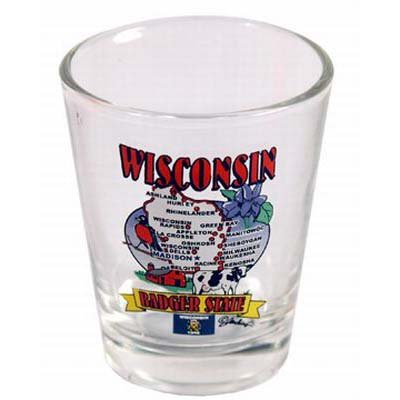 (Wisconsin State Elements Map Shot Glass)