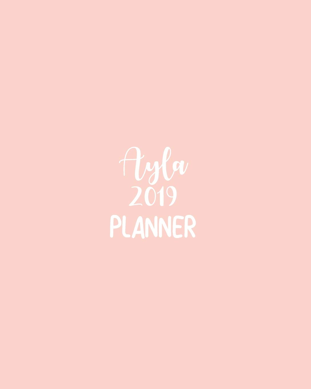 Ayla 2019 planner calendar with daily task checklist organizer journal notebook and initial name on plain color cover jan through dec