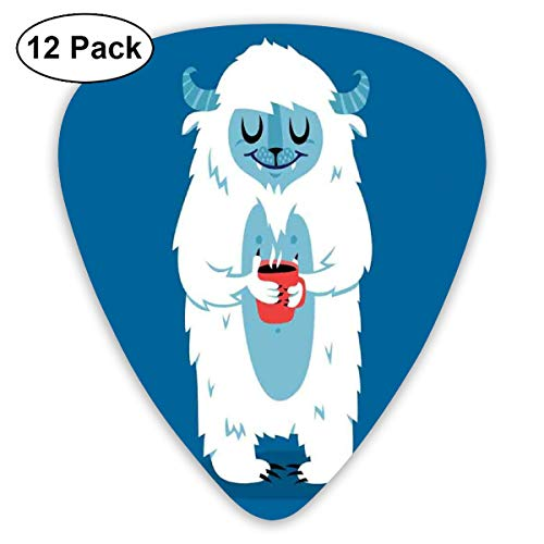 (Guitar Picks - Abstract Art Colorful Designs,Yeti Monster Holding A Cup Of Coffee In Cold Winter Graphic Image,Unique Guitar Gift,For Bass Electric & Acoustic Guitars-12 Pack)