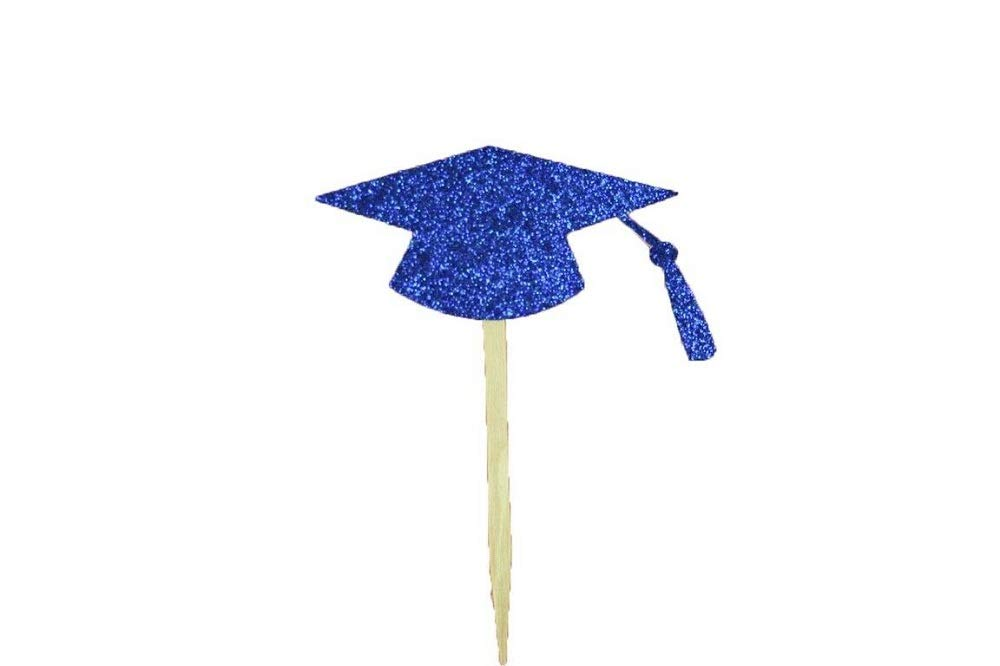 Glitter Graduation Cap Shape Cupcake Topper Pick 2.5'' Wide Royal Blue Color & 50 Pieces Tkdream by Unknown (Image #1)