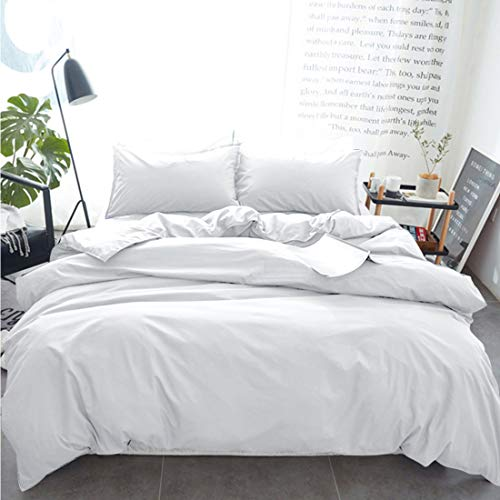INGALIK Bedding 3 Piece Duvet Cover Set Full Size with Zipper Closure Ultra Soft Breathable 100% Washed Microfiber Hotel Luxury Solid Color Collection 3pc (1 Duvet Cover + 2 Pillow Shams) White (And Pillow Duvet Double Set)