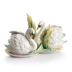 Franz Porcelain Swan Lake salt & pepper shakers Franz Fine Porcelain