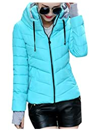 LD Womens Winter Stand Collar Short Down Quilted Jacket Coat Outerwear
