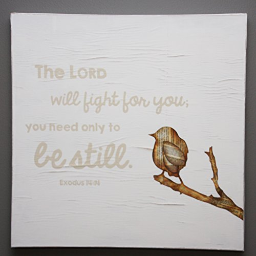 Exodus 14:14 handmade Scripture wall art square