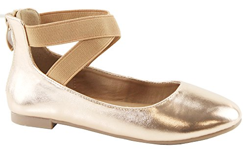 Ballet Flat Elastic Ankle Strap Faux Suede Shoes (4 M US Big Kid, Rose Gold PU) (Girls Mary Jane Shoes)