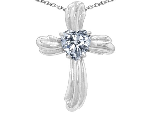- Star K 8mm Heart Shape White Topaz Cross of Love Pendant Necklace Sterling Silver