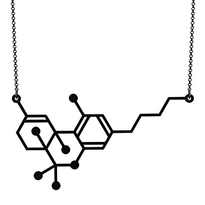 THC Molecule Pendant Necklace Cannabis Marijuana