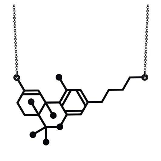 THC Molecule Pendant Necklace Cannabis Marijuana