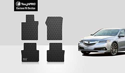 ToughPRO Floor Mats Set (Front Row + 2nd Row) Compatible with Acura TLX - All Weather - Heavy Duty - (Made in USA) - Black Rubber - 2015, 2016, 2017, 2018, 2019, 2020