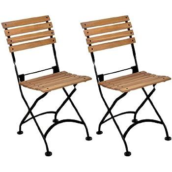 Mobel Designhaus French Café Bistro Folding Side Chair, Jet Black Frame,  African Teak Wood