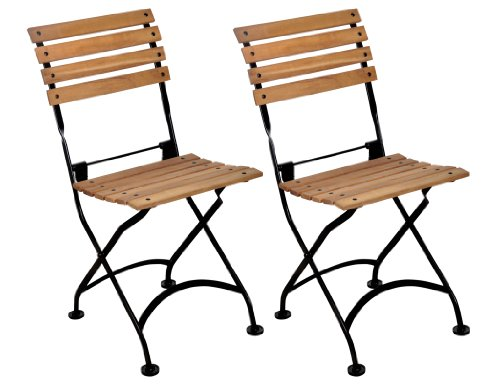 Mobel Designhaus French Café Bistro Folding Side Chair, Jet Black Frame, African Teak Wood Slats (Pack of 2) ()