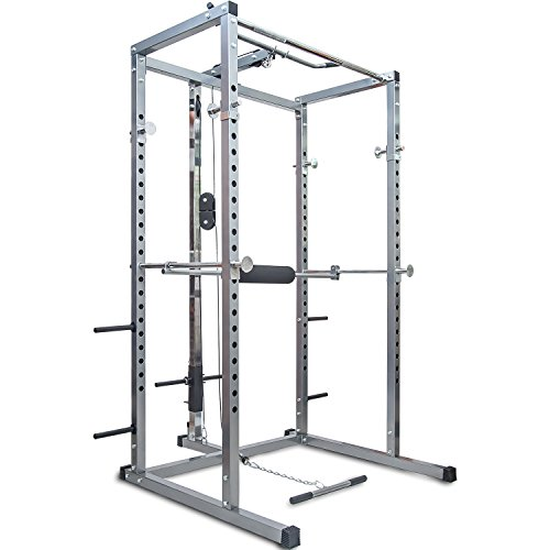 - Merax Athletics Fitness Power Rack Olympic Squat Cage Home Gym with LAT Pull Attachment (Silver Power Rack)