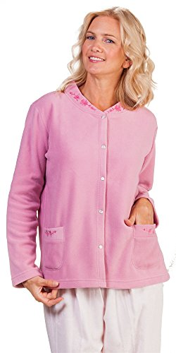 La Cera Feather Light Micro Fleece Snap Front Bed Jacket - Rose (X-Large (18-20), Rose)