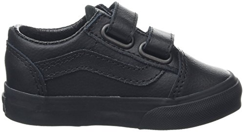 Vans Old Skool V, Botines de Senderismo para Bebés Negro (Leather Black/Black)