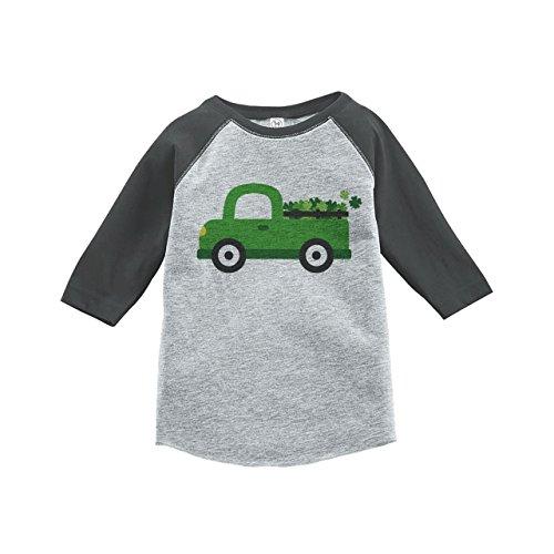 [Custom Party Shop Kids Green Truck St. Patricks Day 3T Grey Raglan] (Toddler Boy St Patricks Day Outfit)