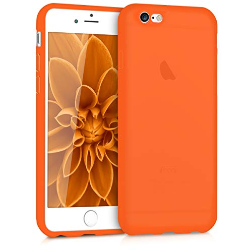 (kwmobile TPU Silicone Case for Apple iPhone 6 / 6S - Soft Flexible Shock Absorbent Protective Phone Cover - Neon Orange )