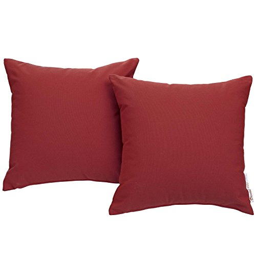 Modway Summon 2 Piece Outdoor Patio Pillow Set With Sunbrella Brand Tuscan Orange Canvas Covers