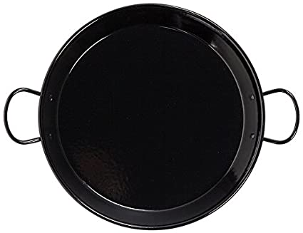La Valenciana - Paellera (34 cm, Acero Inoxidable, esmaltado, con 2 Asas de cerámica, compatibles con Placa de inducción), Color Negro