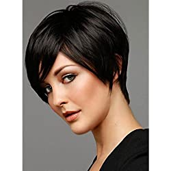VRZ Human Hair Short Silky Straight Wigs Grade 6A Brazilian Hair None Lace Wigs Color 1B (PX1613)