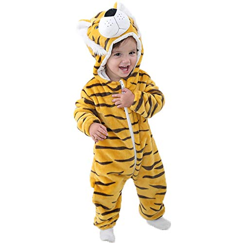 Baby Animal Hooded Romper Flannel Jumpsuit Unisex Infant Onesies Outfits (13-18 Months, Tiger) ()