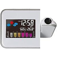CNmuca LED colorido projeção digital despertador temperatura termômetro umidade higrômetro mesa relógio projetor de…