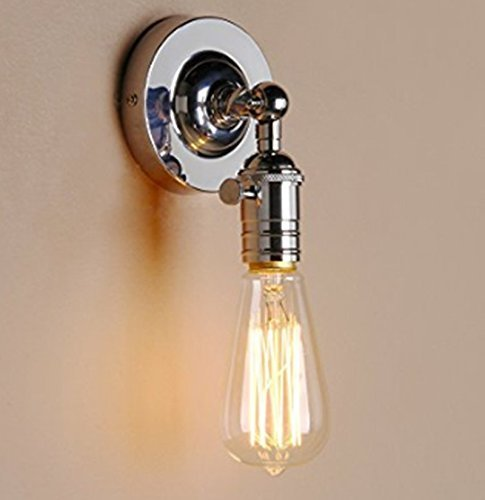 Black Chrome Fluorescent Sconce - Lightess Wall Sconce Lights Chrome Wall Lamp Industrial Edison Pipe Decorative Lighting Fixtures 1 Light (Silver)