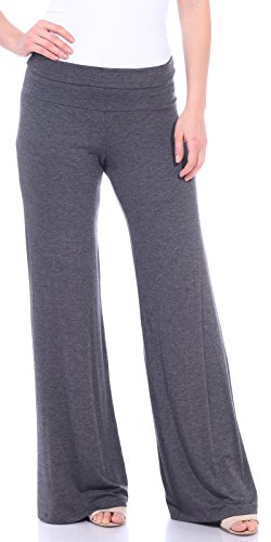 - Popana Women's Casual Wide Leg Flare Comfy Palazzo Lounge Pants Made in USA Charcoal 2X