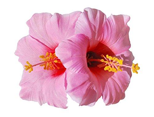 Double Hawaiian Hibiscus Flower Hair Clip (Pink) ()