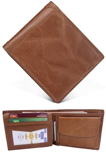Men's Wallet, RFID Blocking Full Grain Leather ID Window Multi-Currency Zipper Pocket Compact Bifold Wallet, Free Gift Box, Brown Style 2, (Two Currency Pockets)