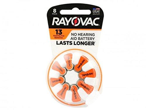 Rayovac 13-8 Size 13 310mAh 1.45V Zinc Air Hearing Aid Batte
