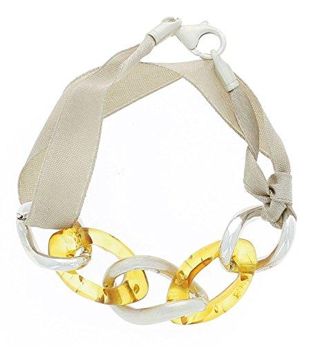 Bijoux Irina - Bracelet Ruban Pompadour en Argent & Ambre Cognac
