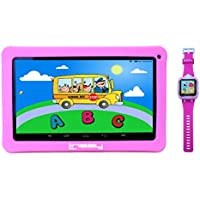 LINSAY NEW F10KPWP 10.1 Kids Tablet Pink Bundle with 1.5 Smart Watch Kids Cam Selfie Pink up to 32 GB