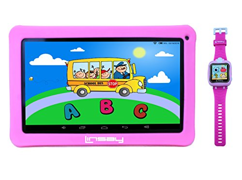 """LINSAY NEW F10KPWP 10.1"""" Kids Tablet Pink Bundle with 1.5..."""