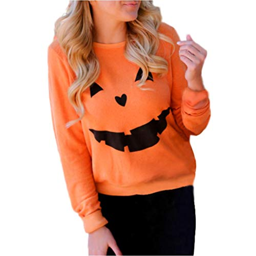 iYBUIA Cotton Women Halloween Pumpkin Print Long Sleeve Sweatshirt Pullover Tops Blouse Shirt(Orange,M) -