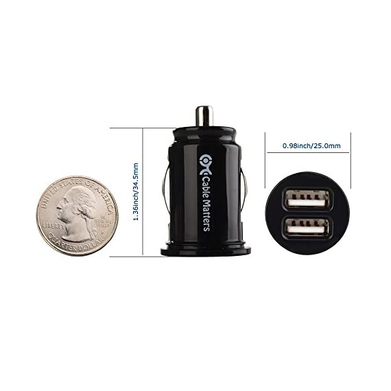 Cable Matters Updated Version 2-Pack 10W 2A Flush Mount Mini Dual USB Car Charger with Smart Charging Chipset for iPhone XR XS LG G7 and More Note 9 Samsung Galaxy S10 V40 Google Pixel 3