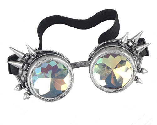 Halloween Goggles - Kaleidoscope Rave Steampunk Goggles with Rainbow Glass Lens Retro Cyber Punk Gothic Cosplay Dance Gogges ()