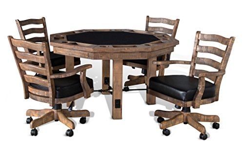 (Sawyer Twain Poker Table With Chairs-Game Table with Four Chairs-2 in 1 Table)