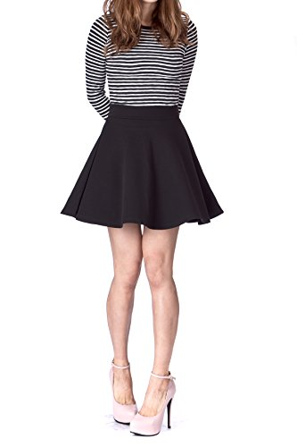 Basic Solid Stretchy Cotton High Waist A-line Flared Skater Mini Skirt (L, Black)