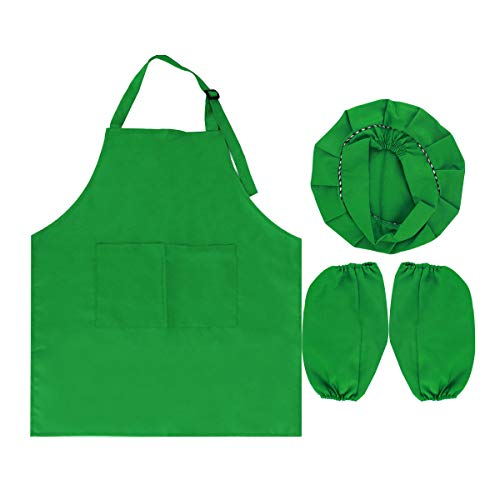 Pinafore Set (Monique Kids Chef Apron Hat Oversleeves Set Children Kitchen Cooking Baking Wear Kit Painting Apron Pinafore)