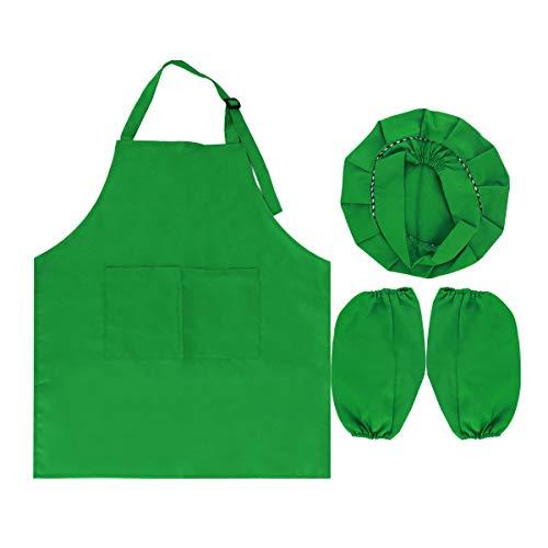 Monique Children Chef Apron Hat Oversleeves Set Kitchen Cooking Baking Wear Kit Painting Apron Pinafore